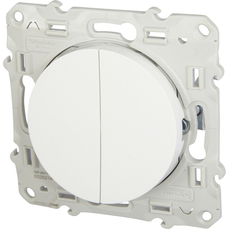 Double Interrupteur Va Et Vient Odace Schneider Electric Blanc