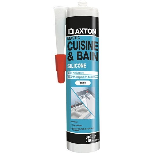 Mastic d'étanchéité AXTON cuisine et bain 310 ml blanc | Leroy
