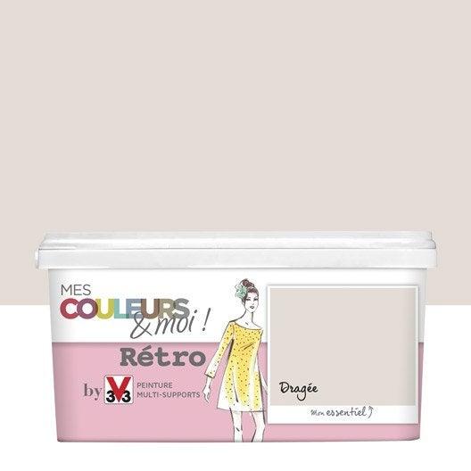 Peinture rose drag e v33 mes couleurs et moi r tro 2 5 l leroy merlin for Peinture beige rose