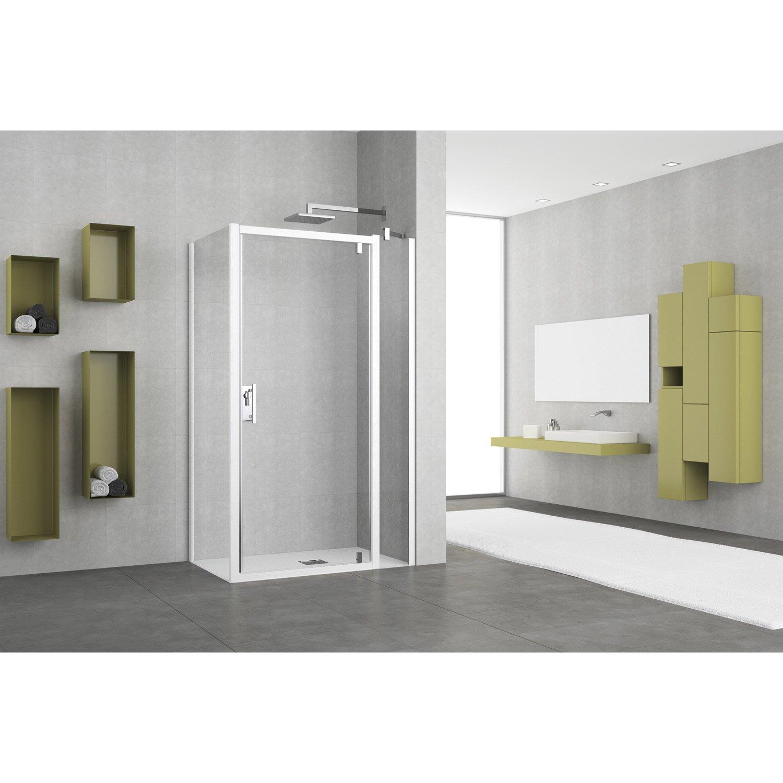 porte de douche pivotante transparent elyt leroy merlin. Black Bedroom Furniture Sets. Home Design Ideas