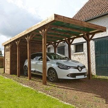 Carport bois Harry 1 voiture, 17 m²