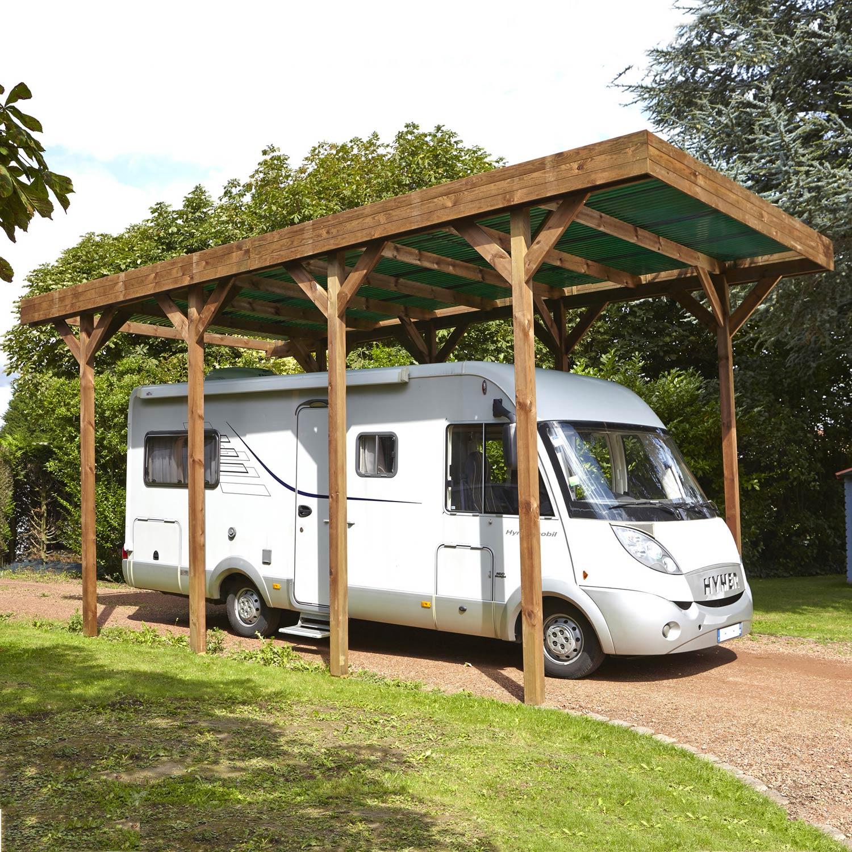 Carport Bois Camping Car 1 Voiture 28 6 M Leroy Merlin