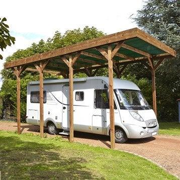 Carport bois Camping car 1 voiture, 28.6 m²