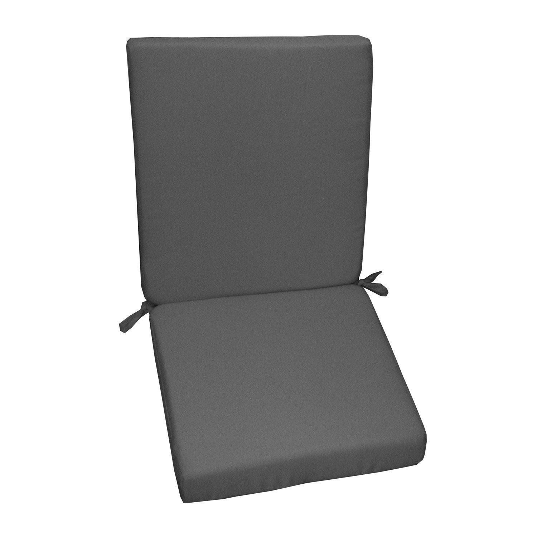 Coussin d'assise de chaise ou de fauteuil gris zingué Lola, 89 x