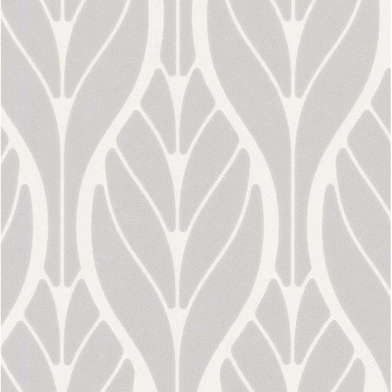 Papier Peint Intisse Feuille Art Deco Gris Clair Leroy Merlin