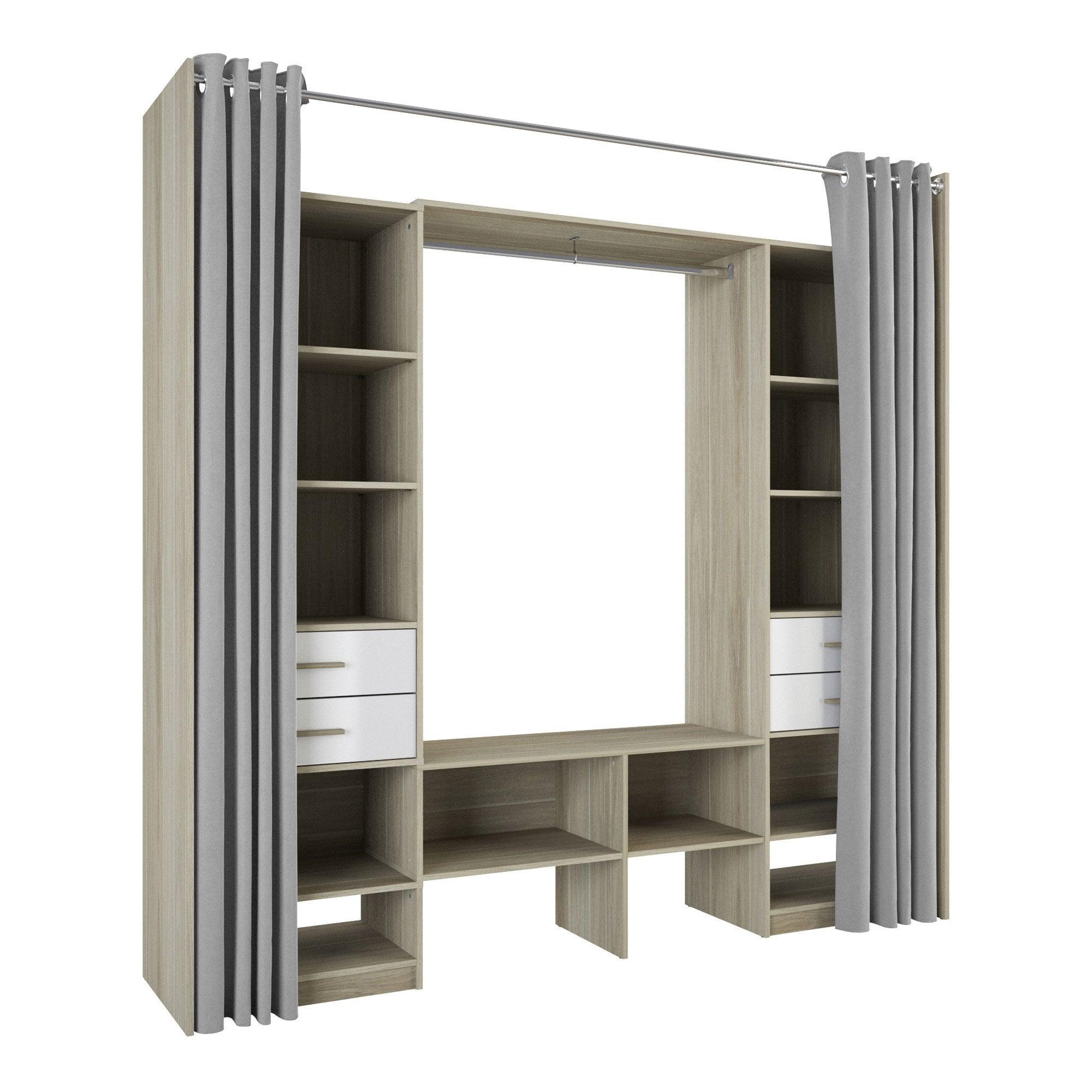 Kit dressing chêne dakota / blanc Doubles colonnes duo H.218.3 x l.50 x P.50 cm