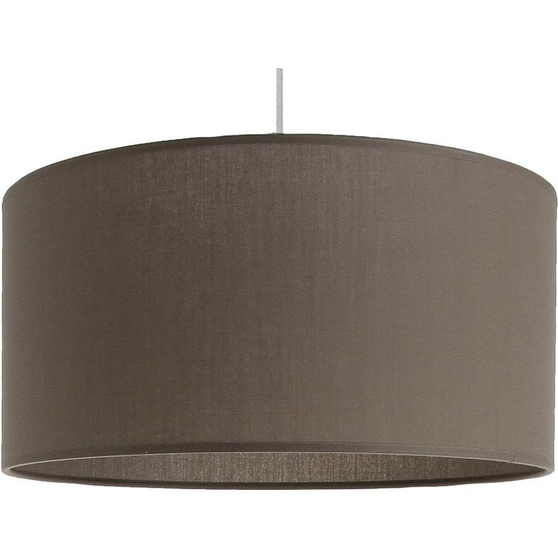 Suspension Classique Coton Brun Taupe N3 Inspire Natt 1 Lumières D48 Cm