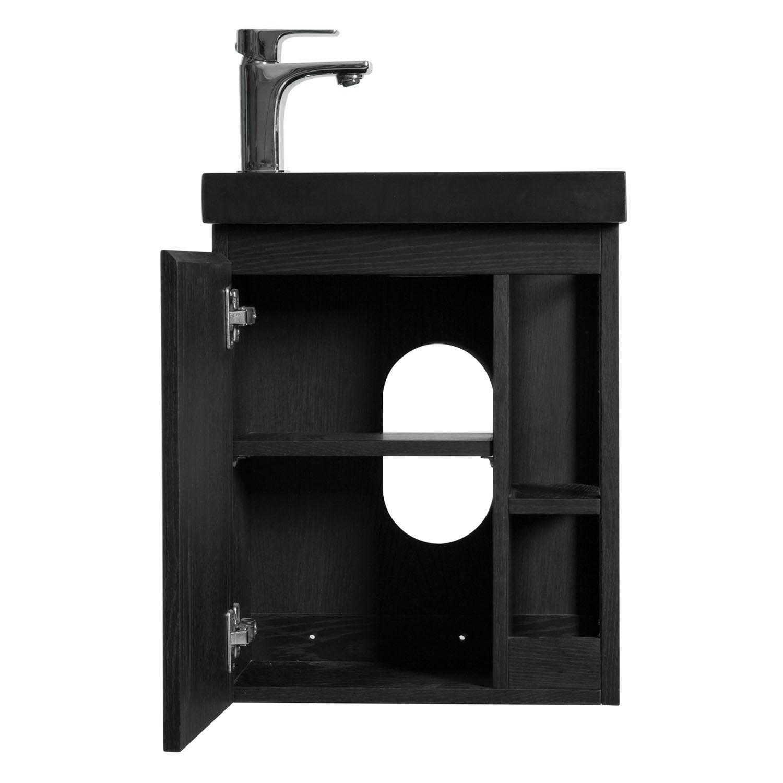 Comment Installer Un Lave Main Avec Meuble meuble lave-mains, flynn l.40 x h.48 x p.22.5 cm, chêne carbone, flynn