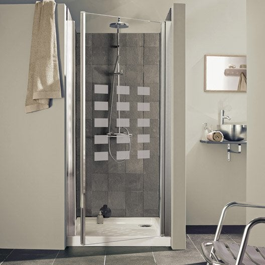 porte de douche pivotante 77 81 cm profil chrom hekla leroy merlin. Black Bedroom Furniture Sets. Home Design Ideas