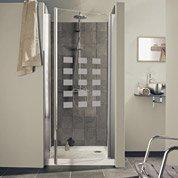 Porte de douche pivotante THALA Hekla, verre de sécurité sérigraphié