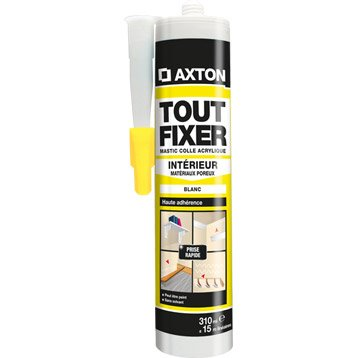 Colle mastic multi-supports, AXTON Tout Fixer, blanc, 310ml