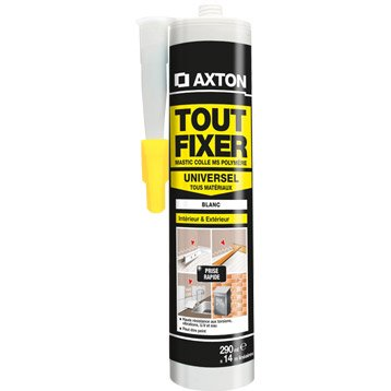 Colle mastic universelle (tous supports), AXTON Tout fixer, blanc, 290ml