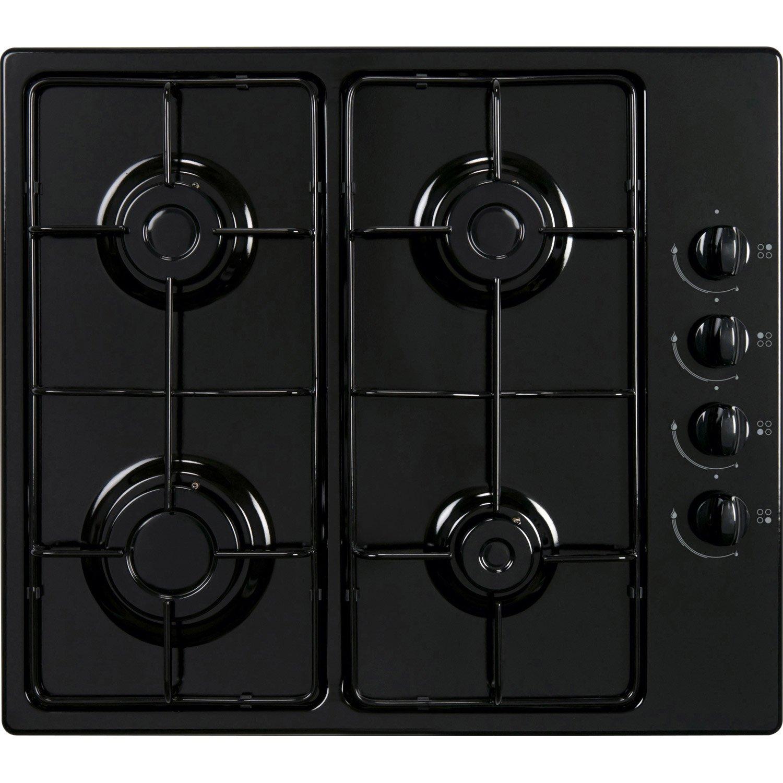 Plaque de cuisson gaz 4 foyers noir frionor ggnofri 2 leroy merlin - Plaque de cuisson four ...