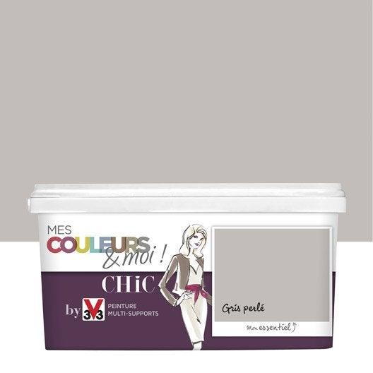 peinture gris perl v33 mes couleurs et moi chic 25 l leroy merlin - Peinture Salle De Bain Gris Perle