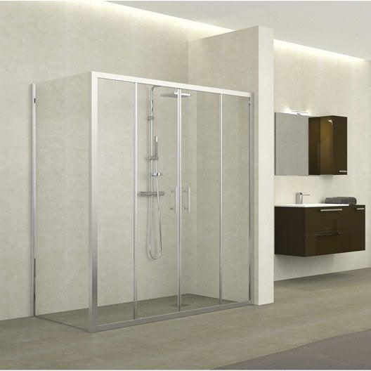 Porte de douche coulissante 170 176 cm profil chrom for Porte de douche hauteur 170