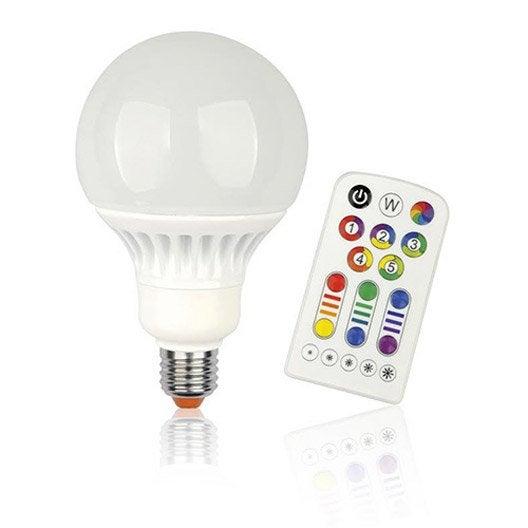 Ampoule globe led changement de couleurs t l commande 13w quiv 60w e27 jedi leroy merlin - Ampoule led piscine telecommande ...