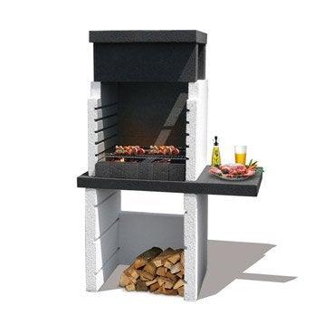 Barbecue en béton gris et noir Salvador, l.114 x L.64 x H.169 cm