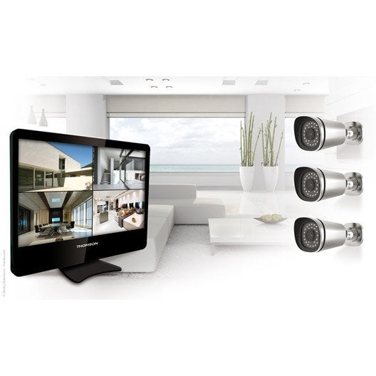 kit de vid osurveillance connect filaire int rieur ext rieur thomson nvr 845b leroy merlin. Black Bedroom Furniture Sets. Home Design Ideas