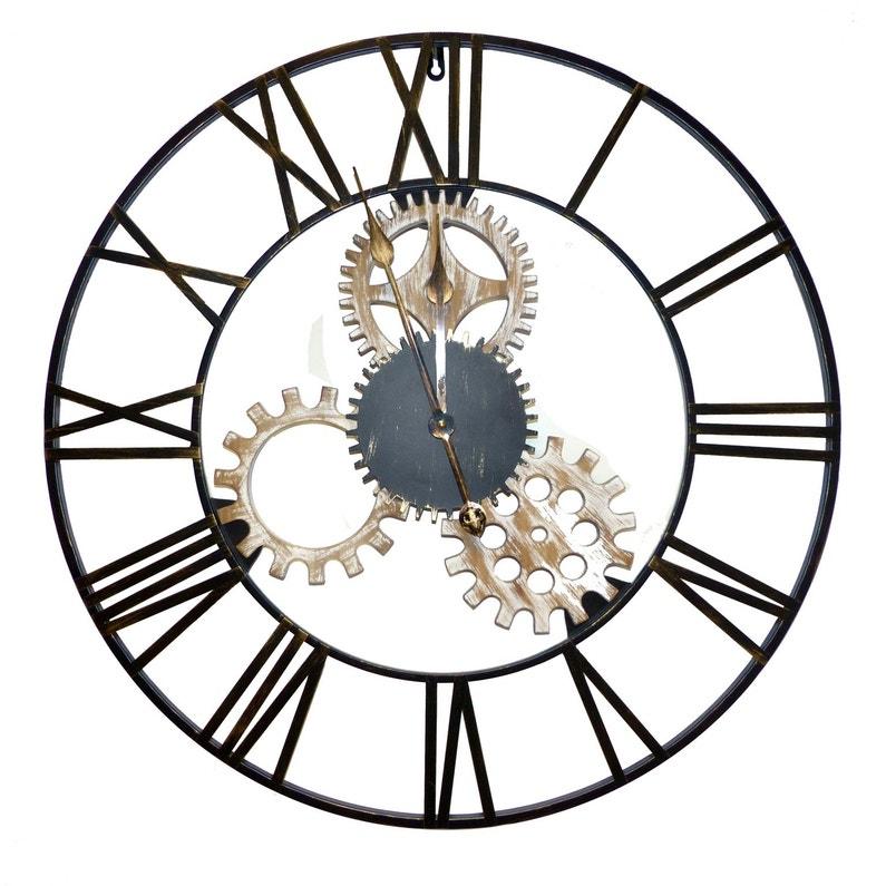 Horloge Métal Engrenage Noir Diam70 Cm