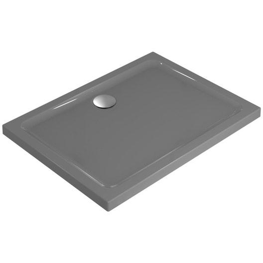 receveur de douche rectangulaire x cm gr s gris idealsmart leroy merlin. Black Bedroom Furniture Sets. Home Design Ideas