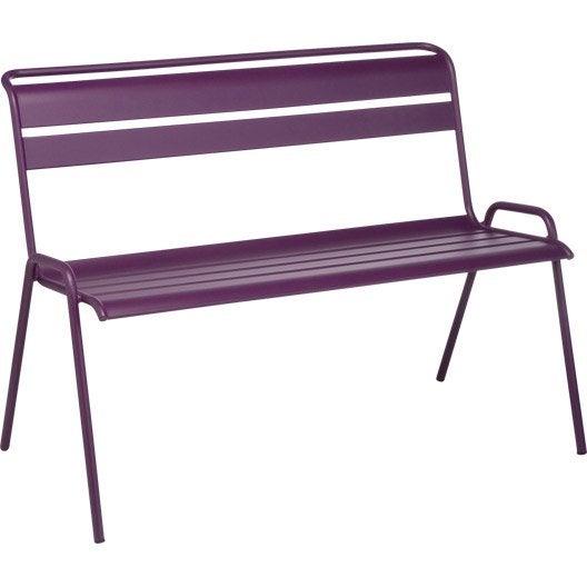 banc 2 places de jardin monceau fermob aubergine leroy merlin. Black Bedroom Furniture Sets. Home Design Ideas