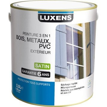 peinture bois m taux et pvc ext rieur 3en1 luxens satin bleu provence 2 5l. Black Bedroom Furniture Sets. Home Design Ideas