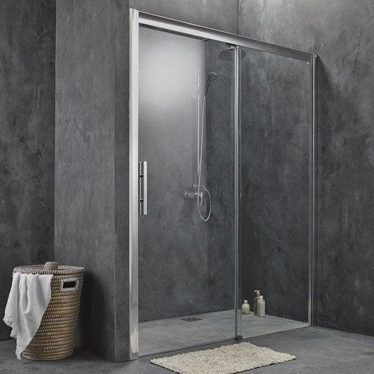 Porte de douche coulissante 167 171 cm profil chrom adena leroy merlin - Paroie de douche coulissante ...