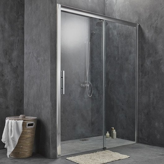 Porte de douche coulissante breuer adena verre de for Leroy merlin porte douche