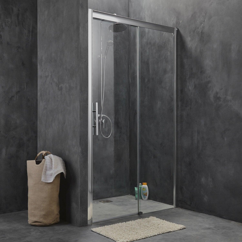 porte de douche coulissante 140 cm, transparent, adena | leroy merlin