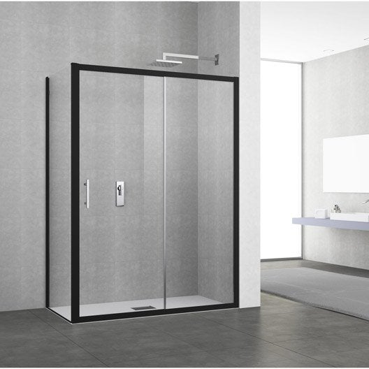 porte de douche coulissante 140 146 cm profil noir elyt 2 pnx leroy merlin. Black Bedroom Furniture Sets. Home Design Ideas