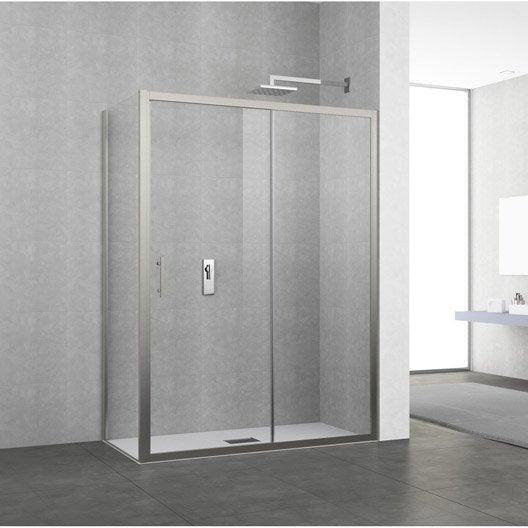porte de douche coulissante 140 146 cm profil chrom elyt 2 pnx leroy merlin. Black Bedroom Furniture Sets. Home Design Ideas