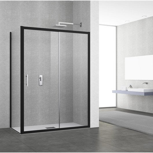 Porte de douche coulissante 134 140 cm profil noir elyt for Porte douche coulissante 140 cm