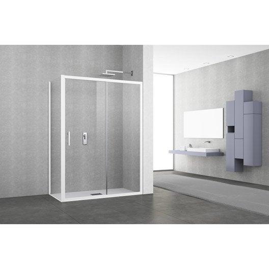 Porte de douche coulissante 134 140 cm profil blanc elyt for Porte douche coulissante 140 cm