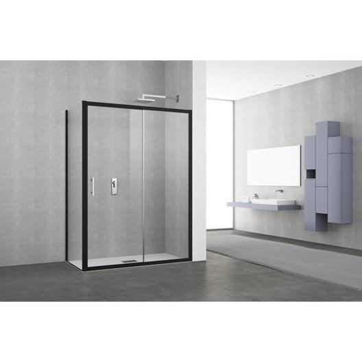 porte de douche coulissante 122 128 cm profil noir elyt 2 pnx leroy merlin. Black Bedroom Furniture Sets. Home Design Ideas