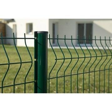 Panneau grillagé vert H.1.23 x L.2 m, maille H.100 x l.55 mm