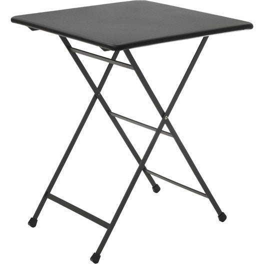 Table de jardin rainbow carr e gris 2 personnes leroy merlin - Table de jardin 2 personnes ...