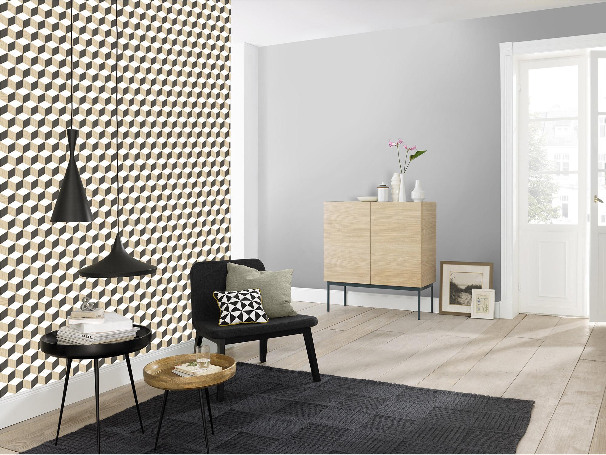 Papier Peint Cubic Intissé Noirblancbois Escalier W2ID9EH