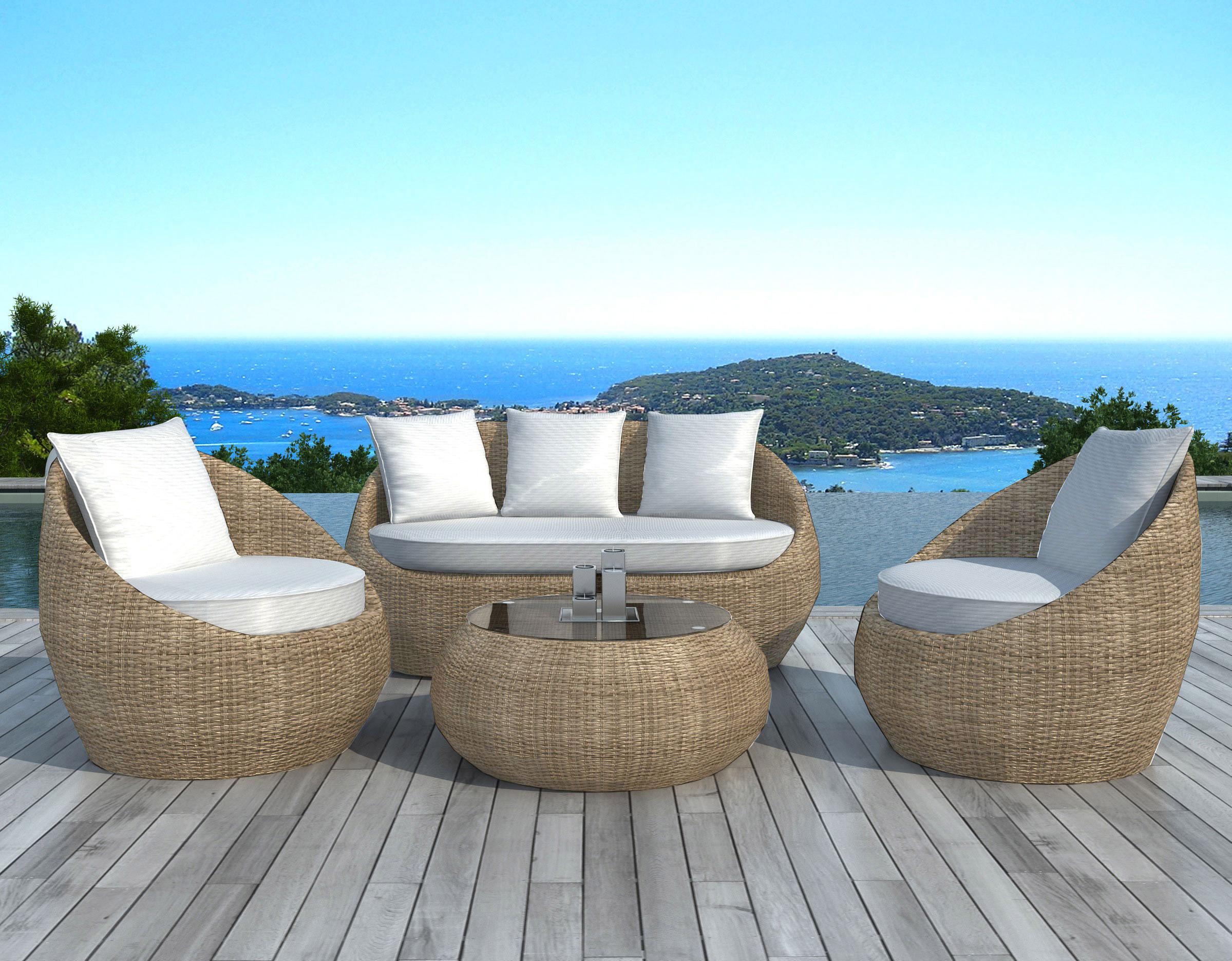 Salon bas de jardin en résine MALAGA polyrotin rotin blanc | Leroy ...