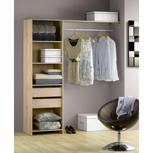 kit dressing ch ne naturel modul 39 kit h204 x l180 x p45 cm. Black Bedroom Furniture Sets. Home Design Ideas