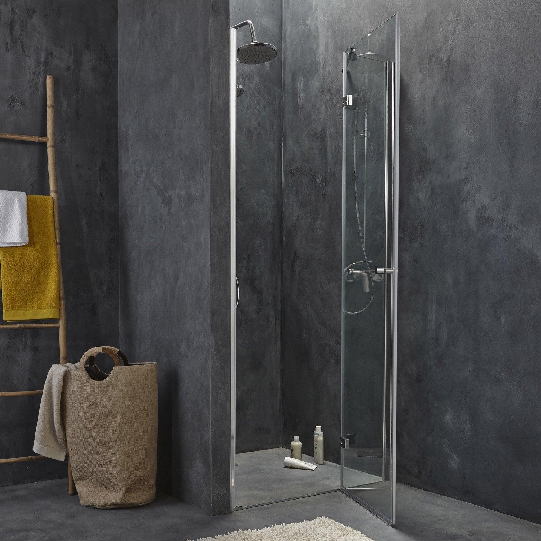Porte de douche pivotante 90 cm, transparent, Open2   Leroy Merlin 5193b1009c6