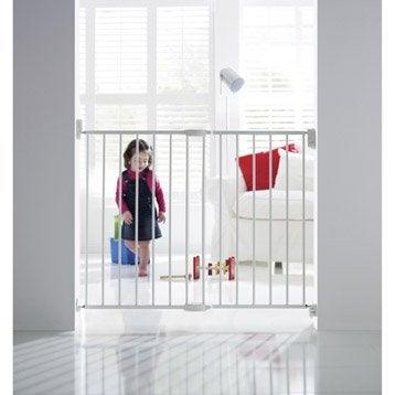 Barrière de sécurité enfant en métal blanc, long. min/max 63.5/102 cm, H68 cm