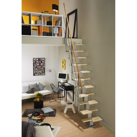 Escalier droit esca 39 deca marches bois structure m tal for Escalier interieur leroy merlin