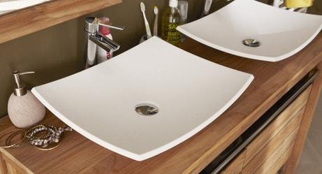 Double vasque à poser pour un style nature et blanc