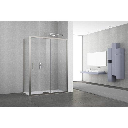 porte de douche coulissante 116 122 cm profil chrom elyt 2 pnx leroy merlin. Black Bedroom Furniture Sets. Home Design Ideas