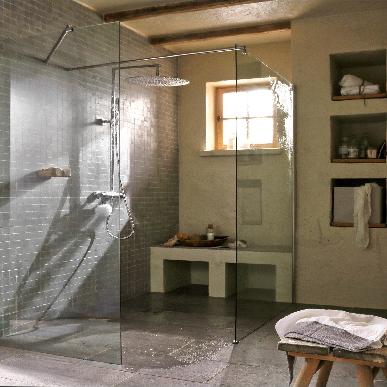 paroi de douche l 39 italienne cm verre transparent 6 mm open 2 6mm leroy merlin. Black Bedroom Furniture Sets. Home Design Ideas