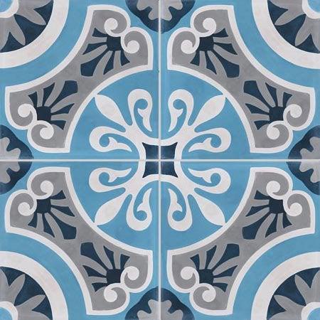 Carreau de ciment bleu Cercle l.20 x L.20 cm