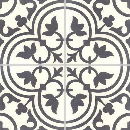 Carreau de ciment noir et blanc aspect carreau ciment Normandie l.20 x L.20 cm QUALITE PREMIUM