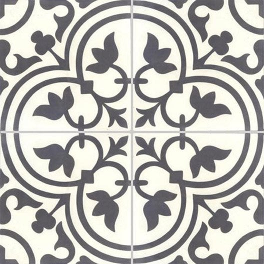 Lot de 4 carreaux de ciment normandie noir et blanc for Faience carreaux de ciment cuisine