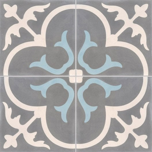 Carreau de ciment premium ch teau gris bleu 40 x 40 cm - Dalle pvc imitation carreau de ciment ...