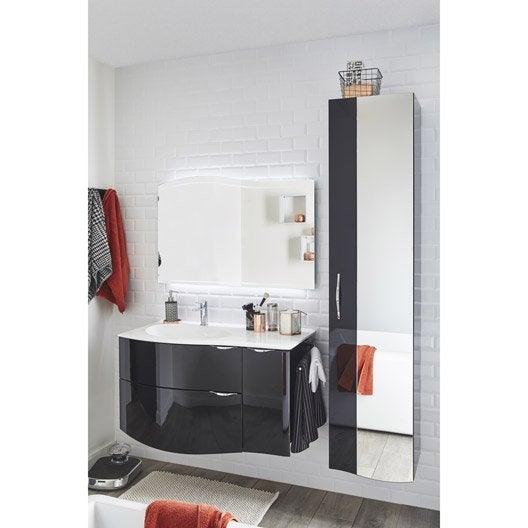 meuble de salle de bains elegance noir 100 cm | leroy merlin